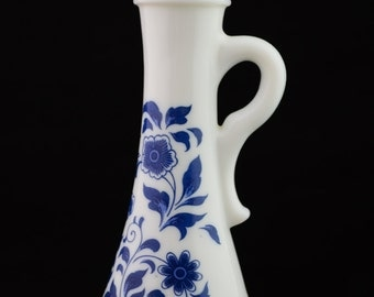 Vintage Avon Patchwork Collection, White Milk Glass with Blue Floral Print, Foaming Bath Oil Bottle with Stopper, Empty Bottle