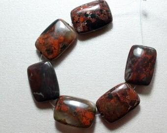 Dainty Poppy Jasper Rectangle Beads - 18mm x 13mm - 6 Beads (2)
