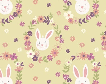 Bunny Garden A146-3 Bunny wreath on sunshine Lewis & Irene Patchwork Quilting Fabric