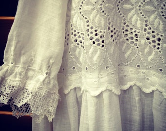 Edwardian sheer white cotton and lace Christening gown