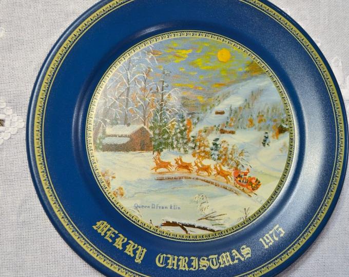 Vintage Grandma Franklin Metal Plate Merry Christmas 1975 Santa Reindeer Winter Snow PanchosPorch