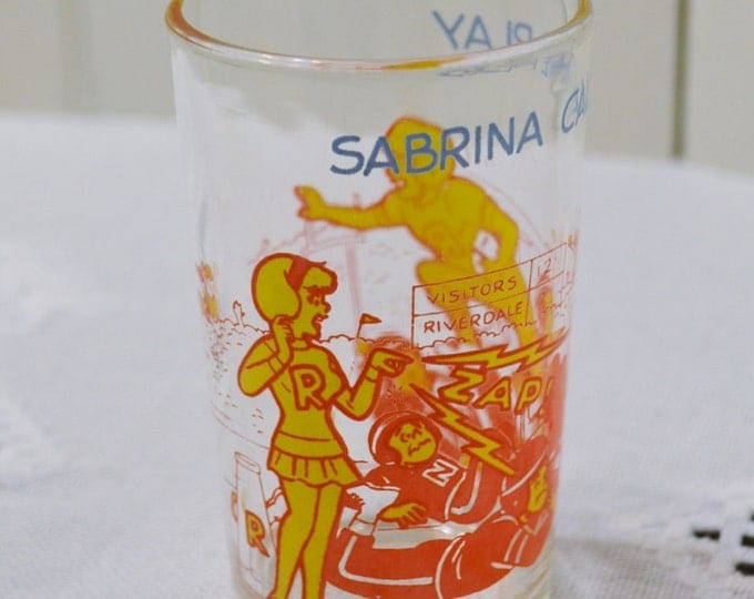 Vintage Archie Jelly Glass Sabrina Call the Play Archie Face Football Yellow Red PanchosPorch