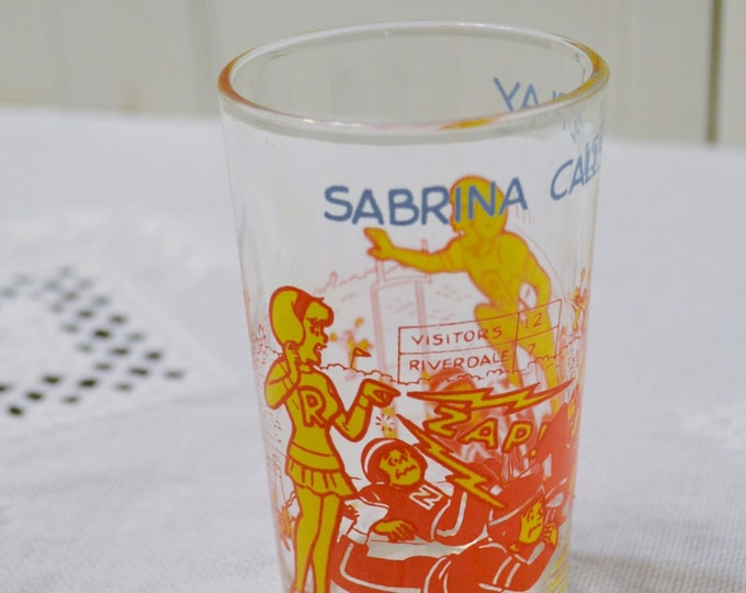 Vintage Archie Jelly Glass Sabrina Call the Play Hot Dog Face Football Yellow Red PanchosPorch