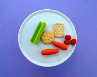 After School Healthy Vegetables and Crackers Snack -  Handmade Gourmet Doll Food For Your American Girl Doll