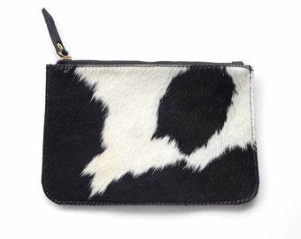 Black & White Cowhide Pouch / Pony Hair Purse / Cowhide Clutch / Calf hair Clutch