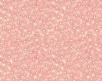 Jenean Morrison In My Room Hideaway JM77 Pink tan ivory floral flowers circles abstract Free Spirit 100% cotton fabric by the yard