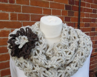 Crochet Lace Infinity Scarf/Cowl in Oatmeal tweed