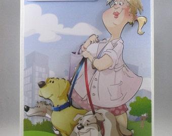Dog Walker Birthday Card,3D, Handmade,Personalise