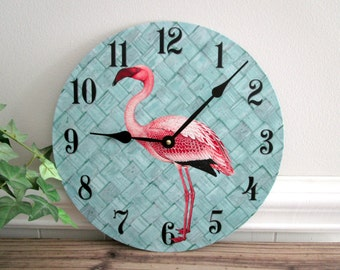 Flamingo Wall Clock - Tropical Beach Wall Clock - Pink Flamingo Decor - Aqua and Pink - Unique Wall Clock - Upcycled Wall Decor