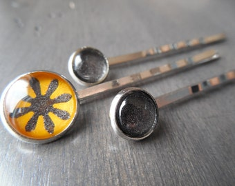 Yellow gray hair pins, handpainted bobby pin set, buttercup hair accessory, charcoal hair pin