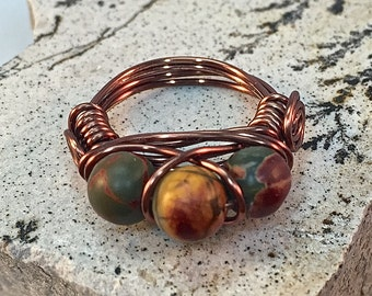 Agate Three Bead Wire Wrapped Ring| Antique Copper Agate Ring| Solid Copper Agate Wire Wrapped Ring| Brown, Gold and Green Agate Ring