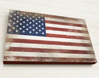 Fourth of July, American Flag Wall art, Vintage styled, Ready to Hang, US Flag, Canvas Gallery Wrap