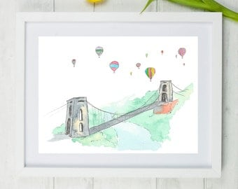 "Clifton Suspension Bridge, Bristol art, bristol, clifton, brunel, suspension bridge, brizzle, england, Bristol print, A4, 8""x 10"","