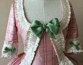 Custom Pink Stripe 18th Century Rococo Polonaise