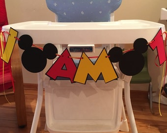 Mickey Mouse I AM 1 High Chair Banner I AM 2 High Chair Banner