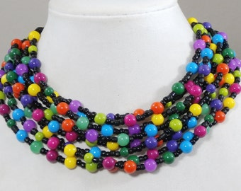 Rainbow statement necklace, beaded, colorful,multi strand, chunky, choker, handmade by Casual Bling
