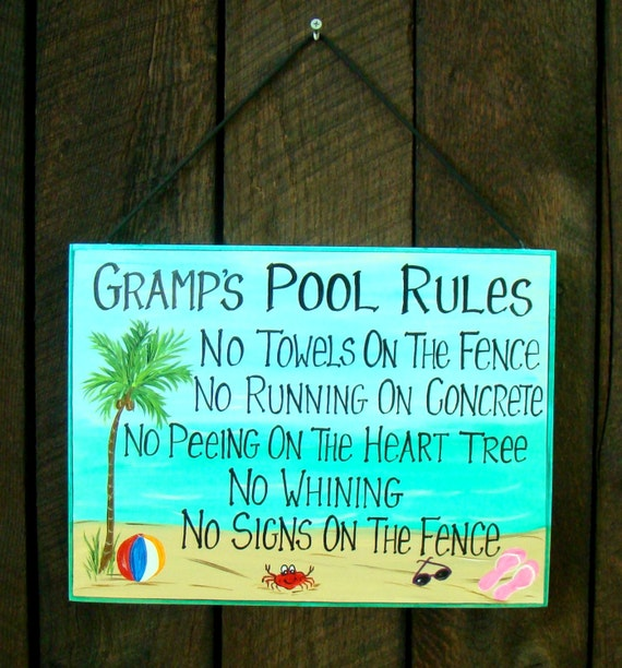 Swimming Pool Plaques Signs Wall Decor: Items Similar To Custom Large Personalized Swimming POOL
