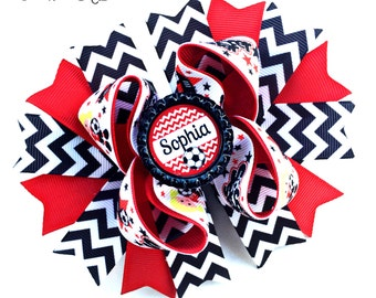 Soccer Hair Bow, Soccer Bow, Soccer Personalized, Soccer Gift, Soccer Accessory, Soccer Girl, Soccer Ball Bow, Soccer Ball Hair Bow