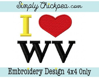 Embroidery Design - I Heart West Virginia - WV - Love - Mountain State - For 4x4 Hoops Only