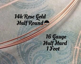 15% Off Shop! 14K ROSE Gold Filled Wire, HALF ROUND, 16 Gauge, 1 Foot, Half Hard