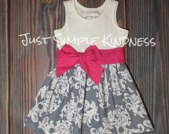 Girls Gray Dress, Girls Damask Dress, Girls Dresses, Girls' Clothing, Gray Pink Dress, Girls Summer Dress, baby girls dress, baby girl dress