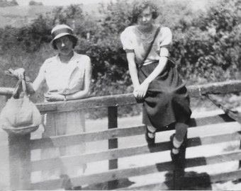 Vintage Photo..Gate Crashers..1920's Original Photo, Old Photo Snapshot, Vernacular Found, Altered Art, Mixed Media, Women's Fashions