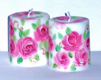 Rose Candle FREE SHIPPING Decorated Pillar Hand Painted Pink Roses Cottage Shabby Chic Decor