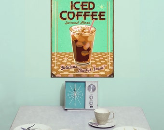 Ice Coffee Served Here Cafe Metal Sign - #37104
