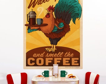 Coffee Wake Up Rooster Wall Decal - #55496