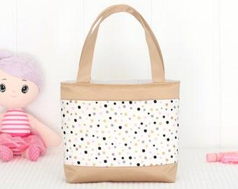 Little Girls Bag / Mini Tote Bag / Girls Bag / Kids Bag / Girls Purse - Luxe Gold Spots