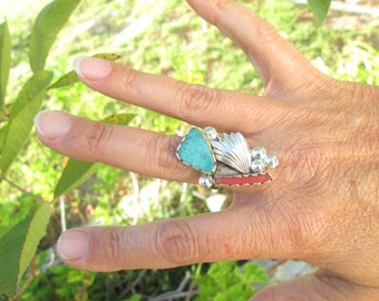 Native American Turquoise, Coral and Sterling Silver Feather Ring Sizev 8.25