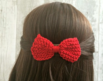 Custom Hair Bows, 37 Colours, Unique Hair Clips, Handmade Hair Bows, Red Hair Bow, Knit Bow Hair Clip, Prom Hair Accessories, Gifts for Wife