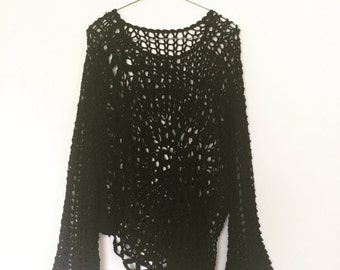 70s woven black oversized jumper top womens size M-L