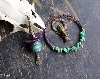 Haridra boho gypsy tribal asymmetric earrings