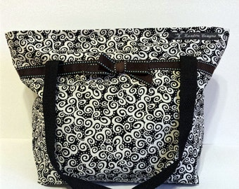 Black & White Paisley Tote Lunch Bag