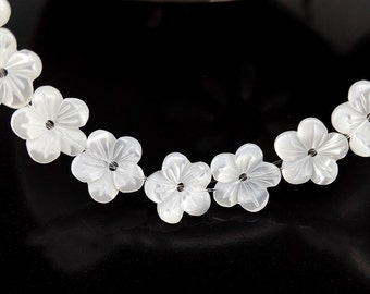 10pcs 8mm White MOP Carved Flower Beads White Mother of Pearl Carved Flower Beads