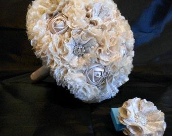 Wedding Bouquet, Bridal Bouquet, Fabric Bouquet, Lace Bouquet, Quinceanera Bouquet, Bridesmaid Bouquet, Taupe Roses, Bling Bouquet