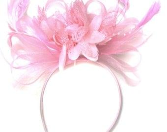 Baby Pink Fascinator on Headband AliceBand UK Wedding Ascot Races Loop