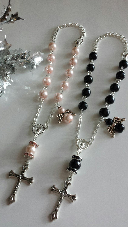 Small rosaries rear view mirror rosary baptism gift