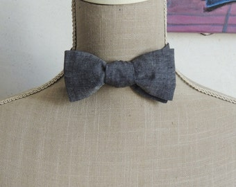 Bow tie, black chambray.