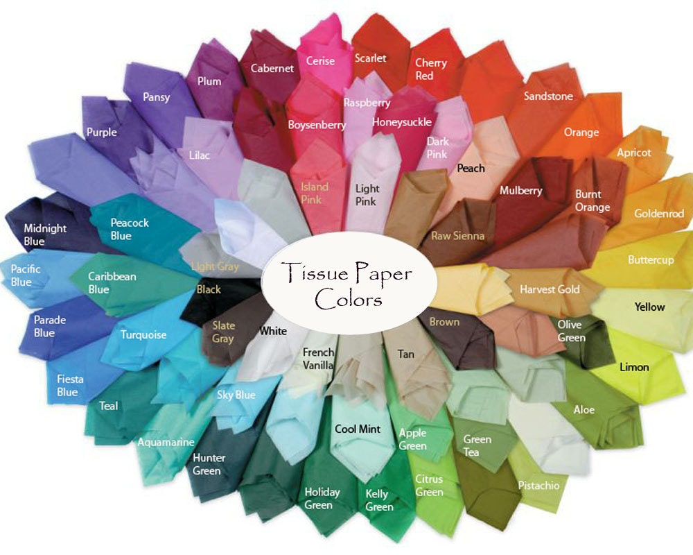 Colored Tissue Paper Sheets 12 sheets per set SatinWrap