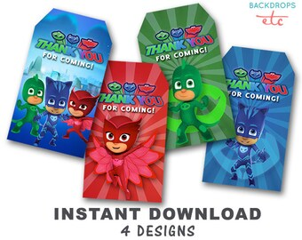 PJ Masks Printable Thank You Tag // Gift Tag // Favor Tag // INSTANT DOWNLOAD