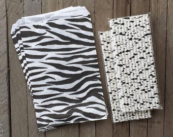 Zebra Theme Party Kit with 50 Favor Bags and 50 Paper Straws-  Birthday Party Supply-- Favor Sacks- Paper Straws- Safari Theme Party