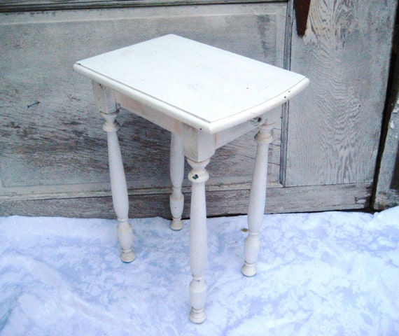 White Distressed Side Table End Table Small Table Bedroom