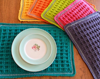 crochet placemat pattern - Waffle Stitch Crochet Placemat Pattern pdf file