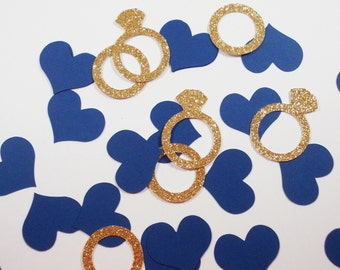 Bridal Shower Ring & Heart Confetti, Navy Blue, Engagement Party Decoration, Wedding Confetti , Bachelorette, Glitter Gold Silver, 60 Ct.