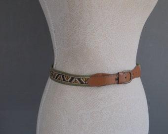 Vintage belt - tribal belt - green and brown belt - 90s - preppy - hipster - aztec belt - retro - fabric belt - embroidered belt - southwest