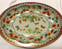 Daher Decorated Ware, Strawberries and Butterflies, Vintage Tray