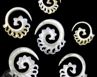 Mother of Pearl Harta Spirals / Plugs - Sizes / Gauges (12G, 8G, 6G, 4G, 2G)