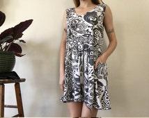 Abstract Mini Dress / babydoll / small /